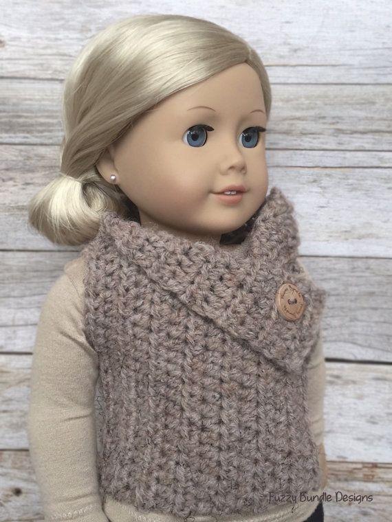 DIY Crochet Pattern - 18 inch Doll Almond Button Vest PDF 17 (Fits ...