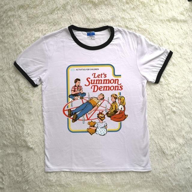 Satan Ringer Harajuku Graphic T shirt Women