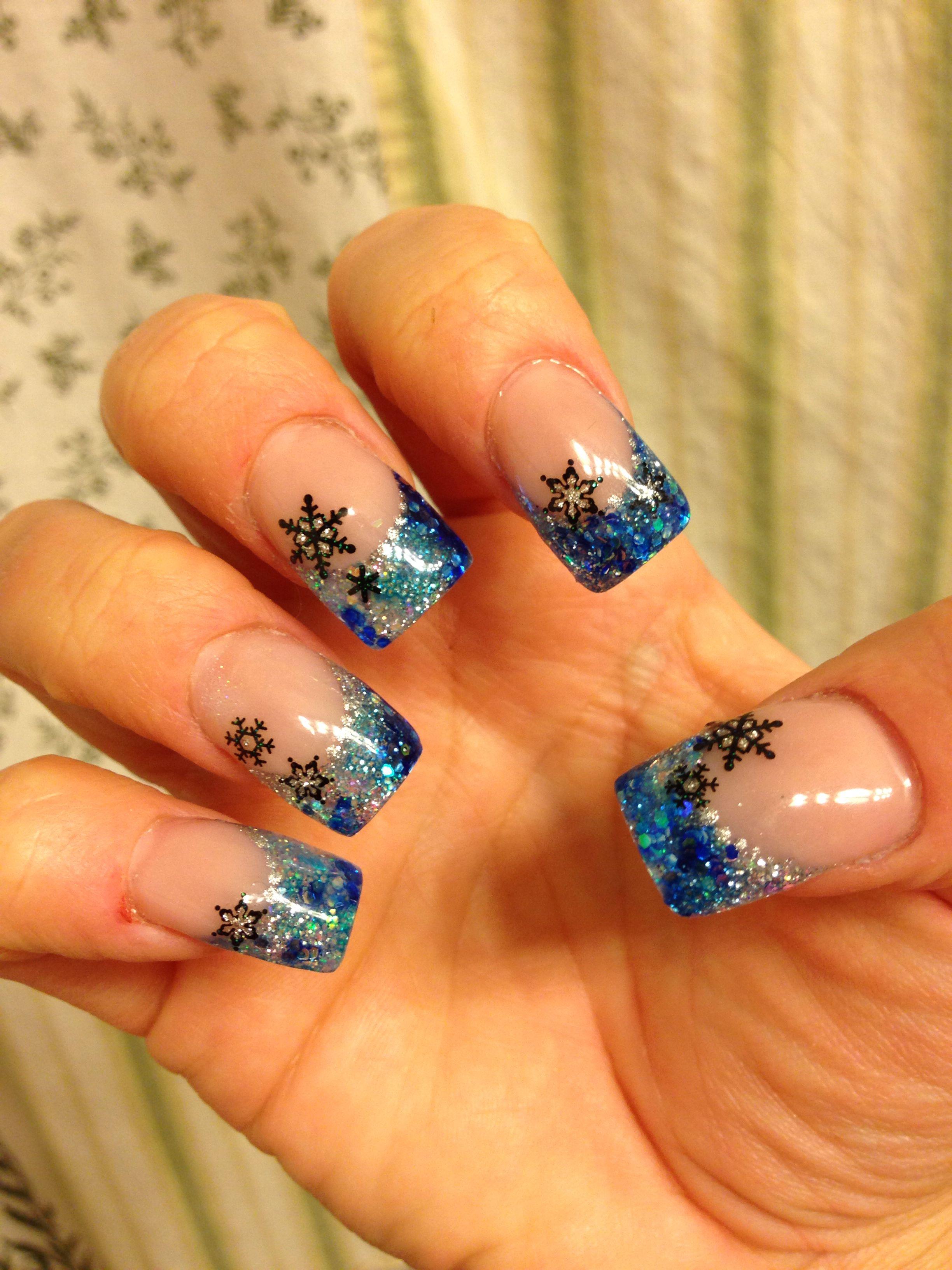 Holiday acrylic nails winter | Sara's nail designs ...