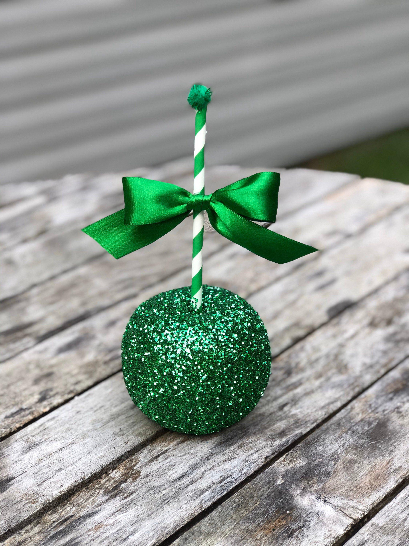 Green Glitter Fake Apples Fake Christmas Apples Christmas Etsy Apple Christmas Christmas Decorations Halloween Table Decorations