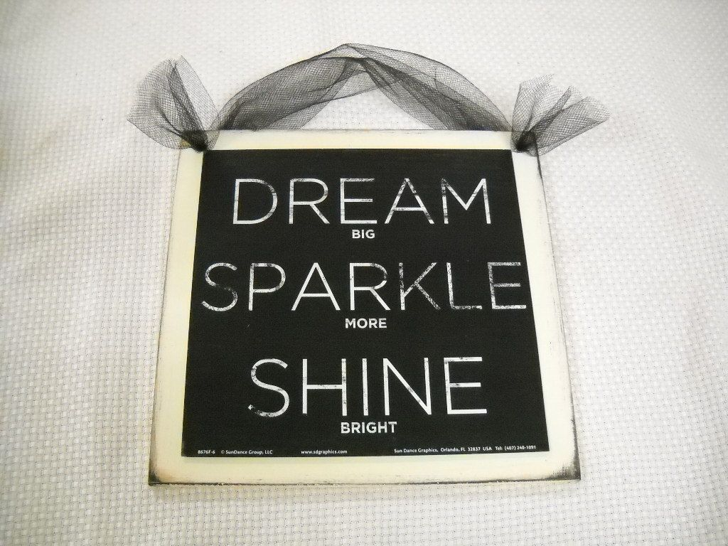 Dream sparkle shine wooden wall art sign teen girls for Room decor signs