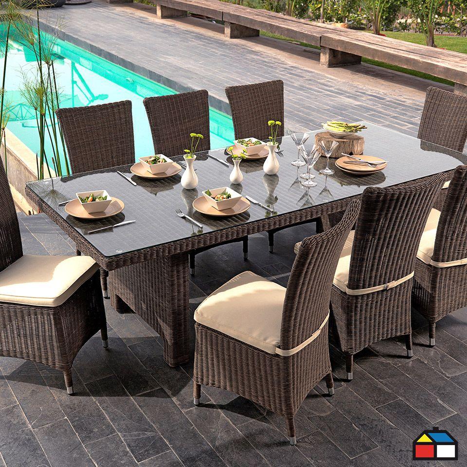 Juego de terraza murano de aluminio con rat n de pe for Mesas y sillas para terraza