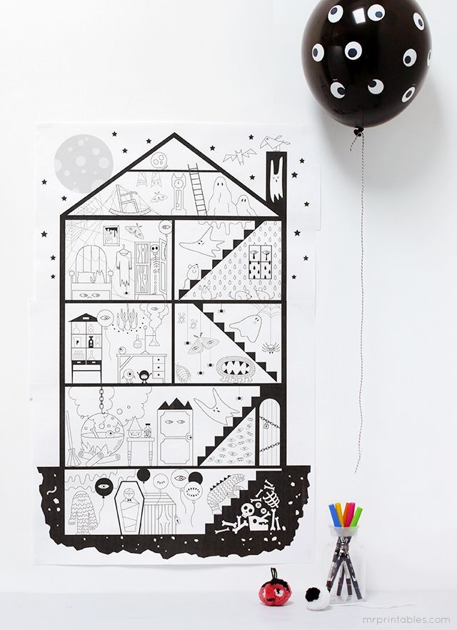 Halloween Coloring Pages / Giant haunted house, 10 sheet free - free halloween decorations printable