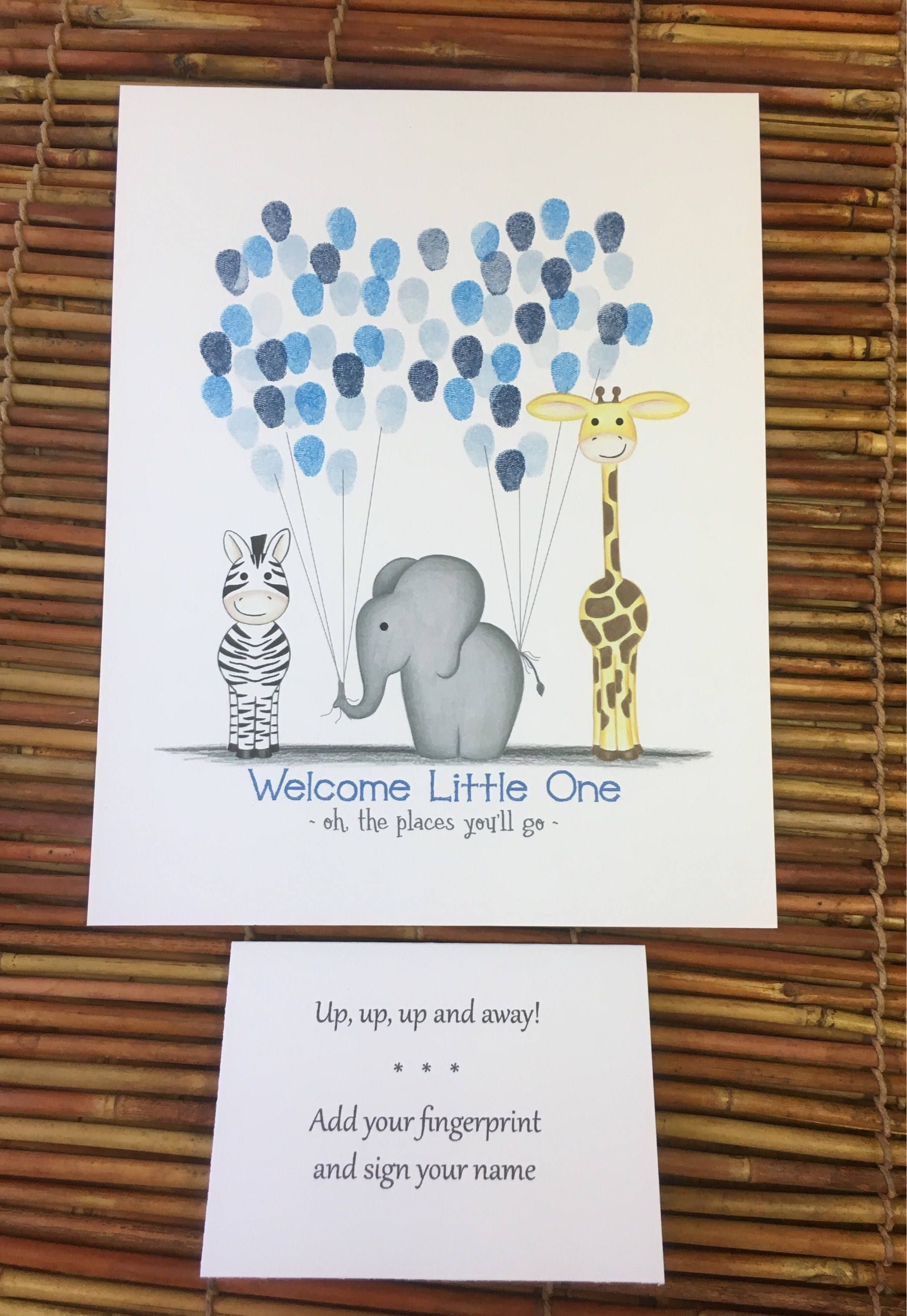 Elephant Baby shower Guest book He or She Gender Reveal Guestbook Boy or Girl Game Printable Fingerprint Poster Thumbprint Balloon