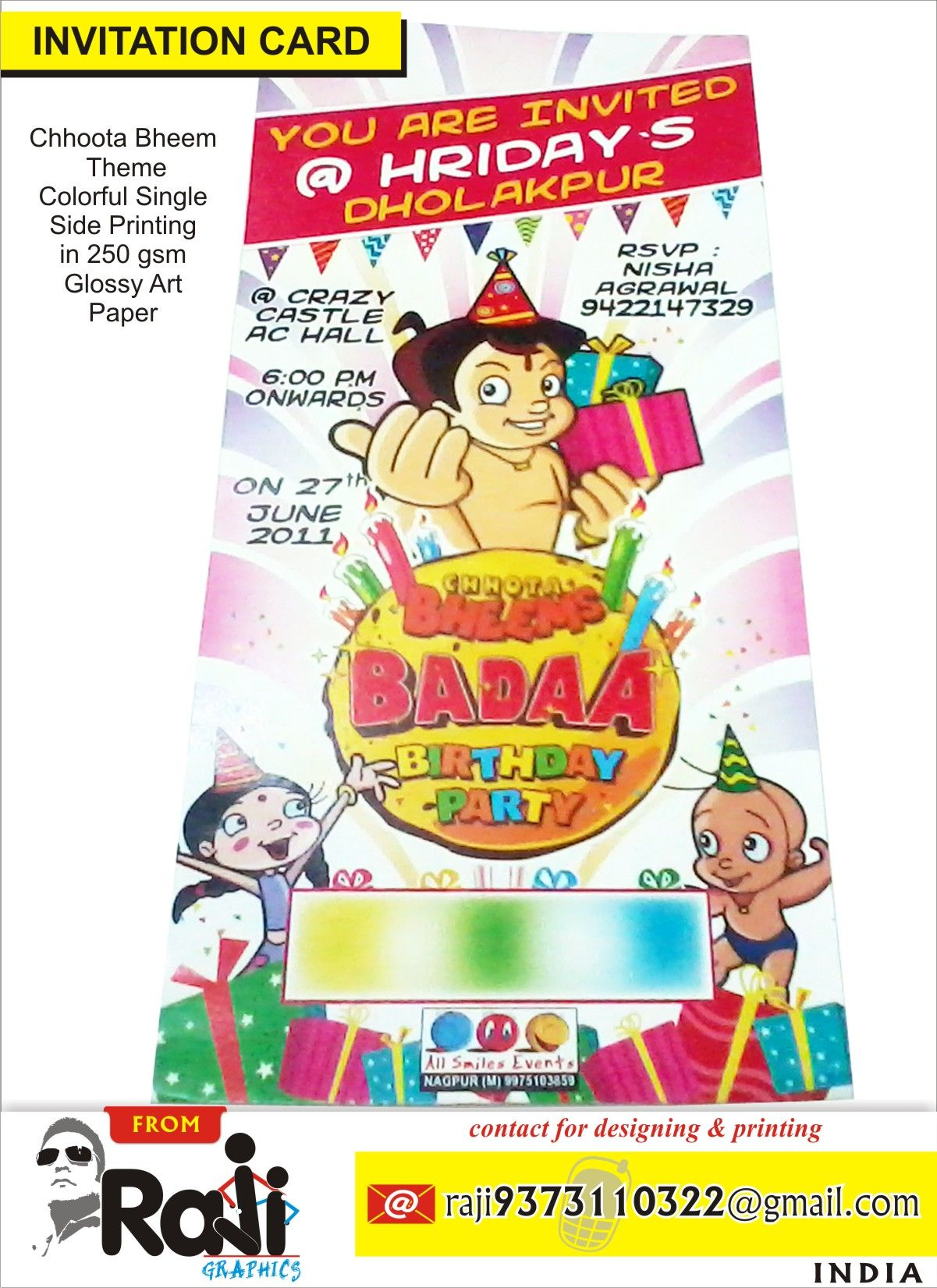 chhoota bheem birthday party invitation card design my designing