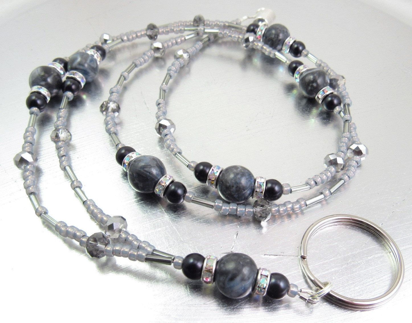 ID Lanyard, Badge Holder - Blue Grey Jasper, Black Glass Pearl, and Black Faceted Crystal with AB Swarovski Crystal Accent Wheels by mmojewelry on Etsy