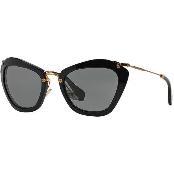 4966a697c189 Miu Miu Mu 10ns Black Cat Sunglasses ( 430) ❤ liked on Polyvore featuring  accessories