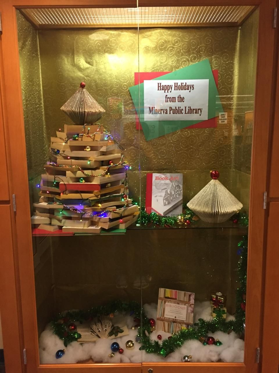 Christmas ornament display case - Happy Holiday Library Display Case
