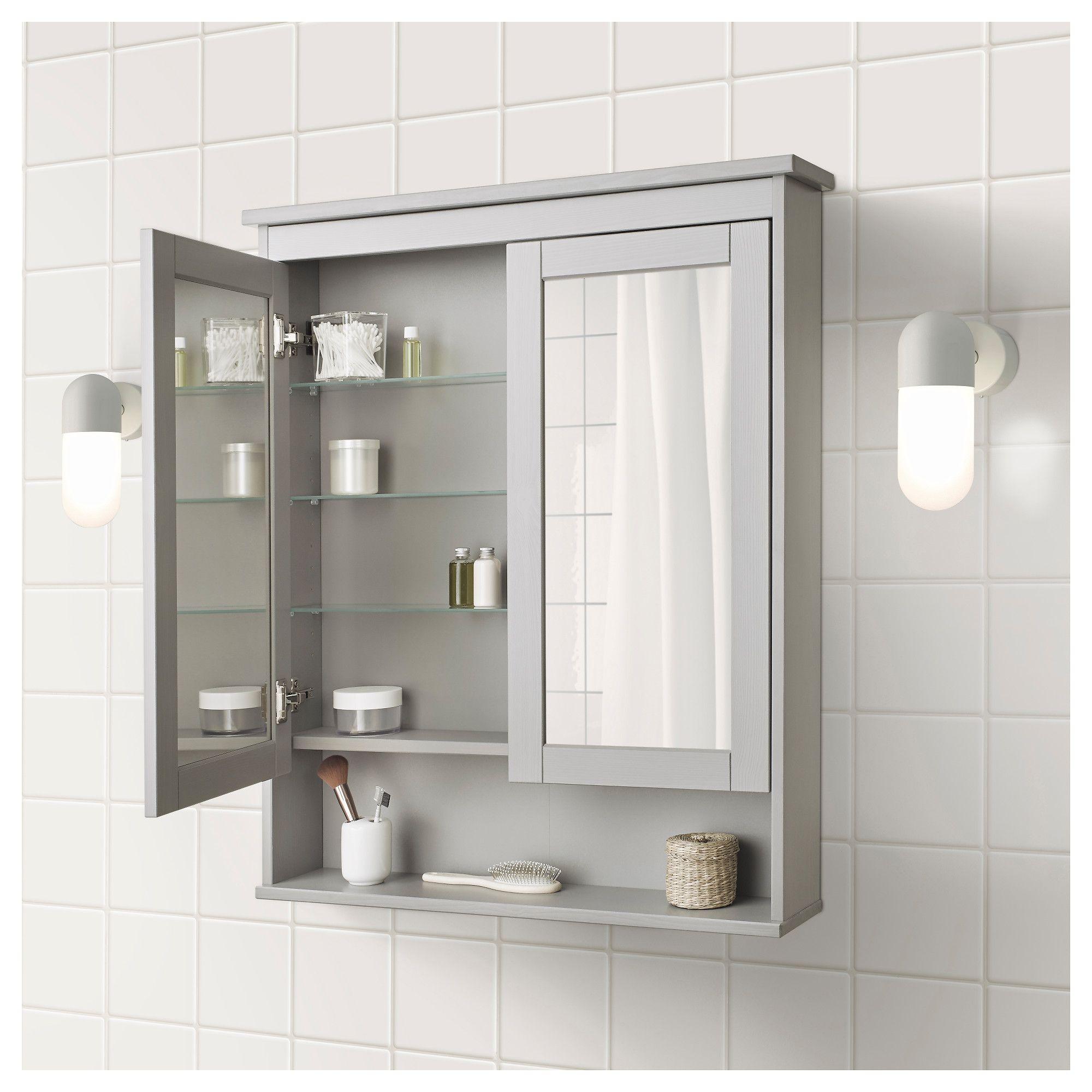 Hemnes Mirror Cabinet With 2 Doors Gray Shop Ikea Ca Ikea Mirror Cabinets Ikea Hemnes Mirror Trendy Bathroom