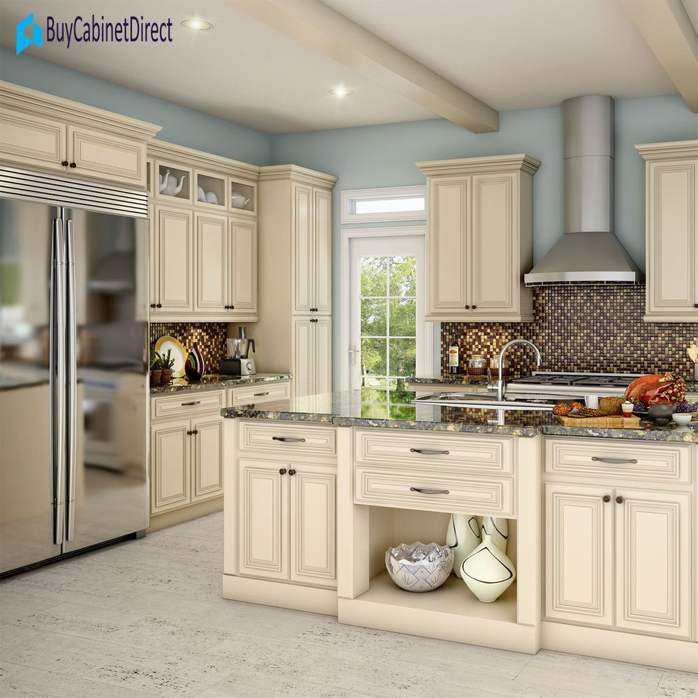 All Maple Wood Rta 10x10 Kitchen Cabinets In Cream Glaze Buycabinetdirect Antique White Kitchen Cabinets New Kitchen Cabinets Off White Kitchen Cabinets