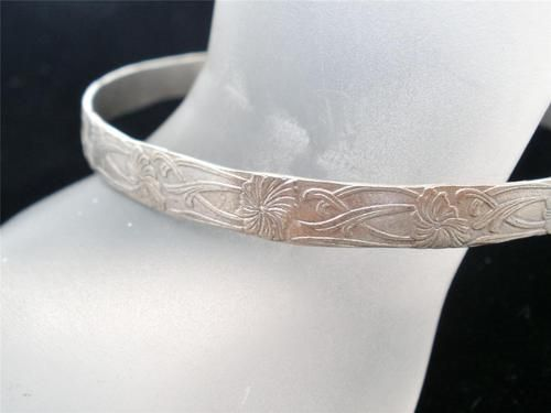 Antique Hand Made Floral Sterling Silver Cuff Hammered Bead Art Nouveau Bracelet | eBay