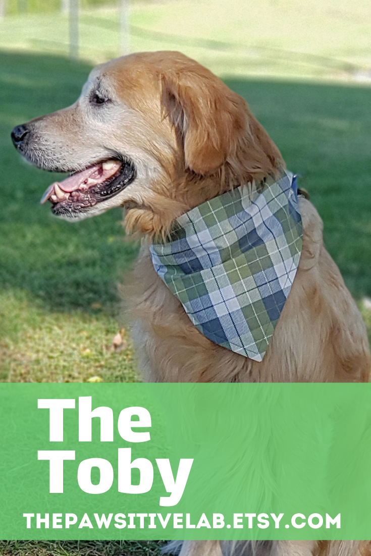 Dog Bandana The Toby White Olive Green And Gray Plaid Reversible Gray Over The Collar Personalized Dog Bandana Green And Grey Plaid Dog Bandana