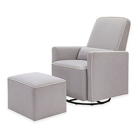 Superbe DaVinci Olive Upholstered Swivel Glider And Ottoman In Grey With Cream  Piping