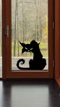 Details about Scary Cat Halloween Wall Window Decal Vinyl Sticker Decor