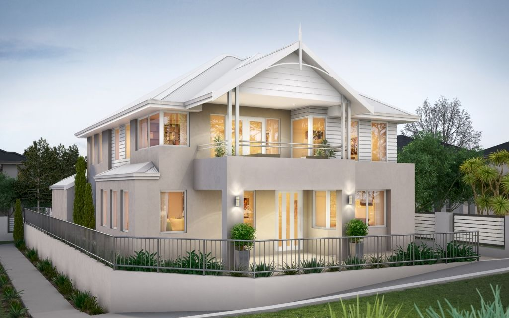 Another narrow 2 storey home design this time with rear for Double storey beach house designs