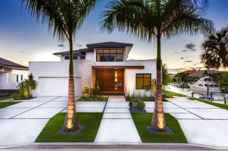 Aménagement extérieur maison  jardins du0027entrée modernes - Facade Maison Style Moderne
