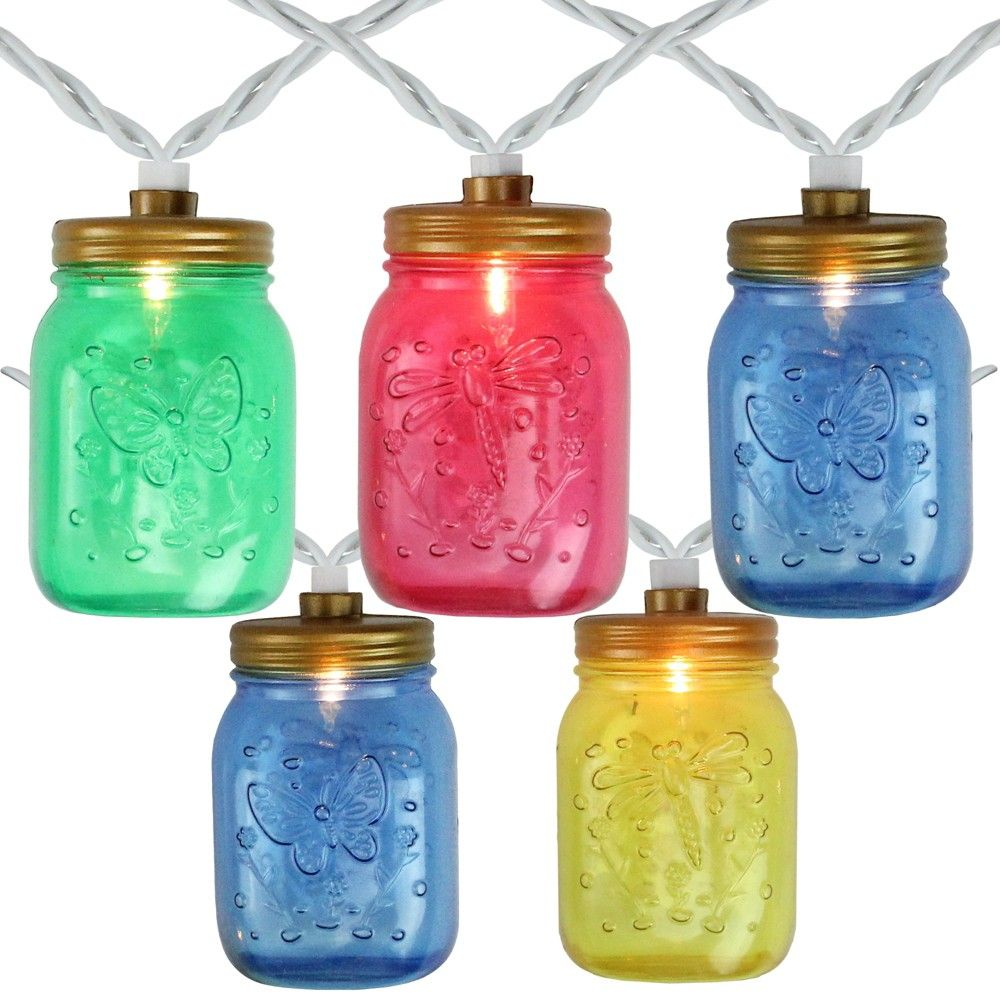 Northlight 10 Count Multi Color Mini Mason Jar Patio Lights 7 5 Ft White Wire In 2020 Mini Mason Jars Colored Mason Jars Mason Jars