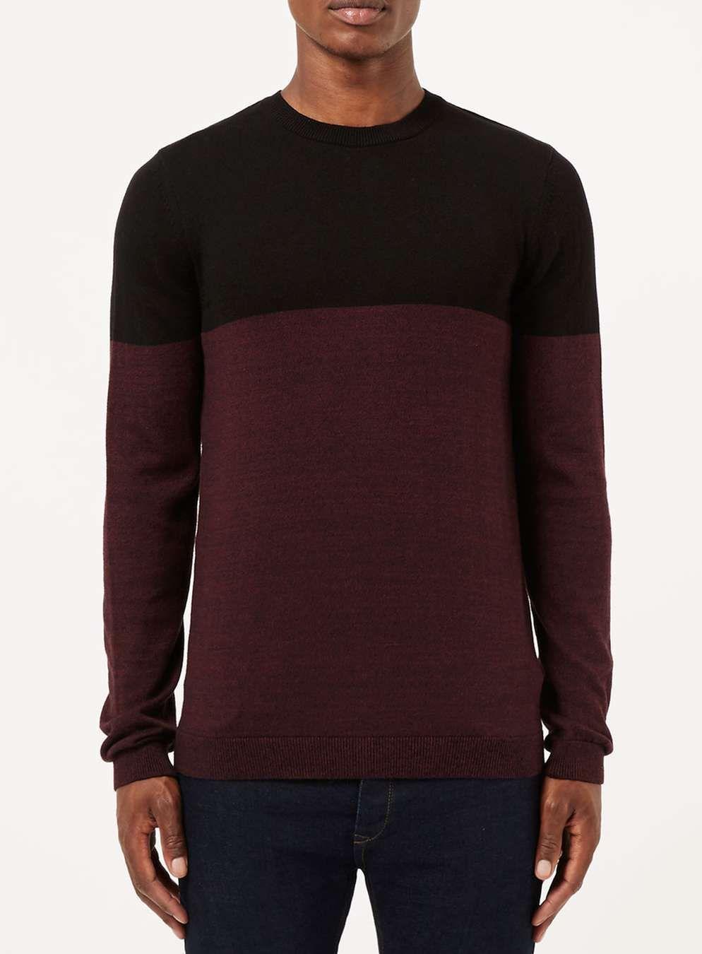 Black and Burgundy Colour Block Jumper - Men's Tops - Clothing ...