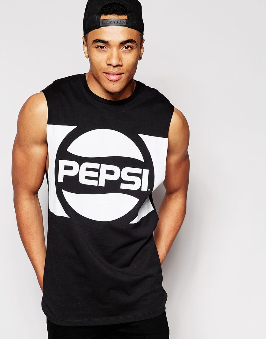 Imagen 1 de Camiseta larga sin mangas con sisas caídas y estampado Pepsi de  ASOS