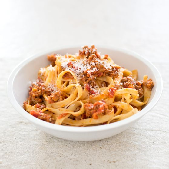 pasta with classic bolognese sauce from americas test