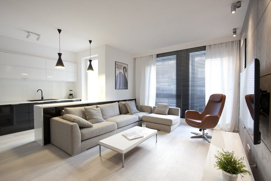 Nowoczesny Salon Z Aneksem Kuchennym Inspiracja Homesquare Living Room Modern House Interior Interior Design