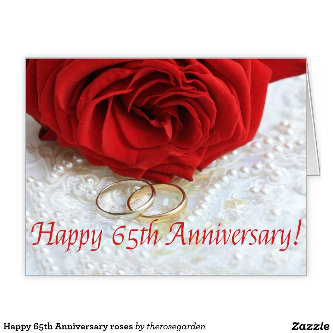 Happy 65th Anniversary roses Large Greeting Card Happy