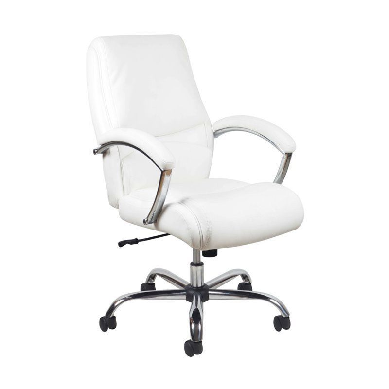 ofm essentials ergonomic high back leather office chair in white