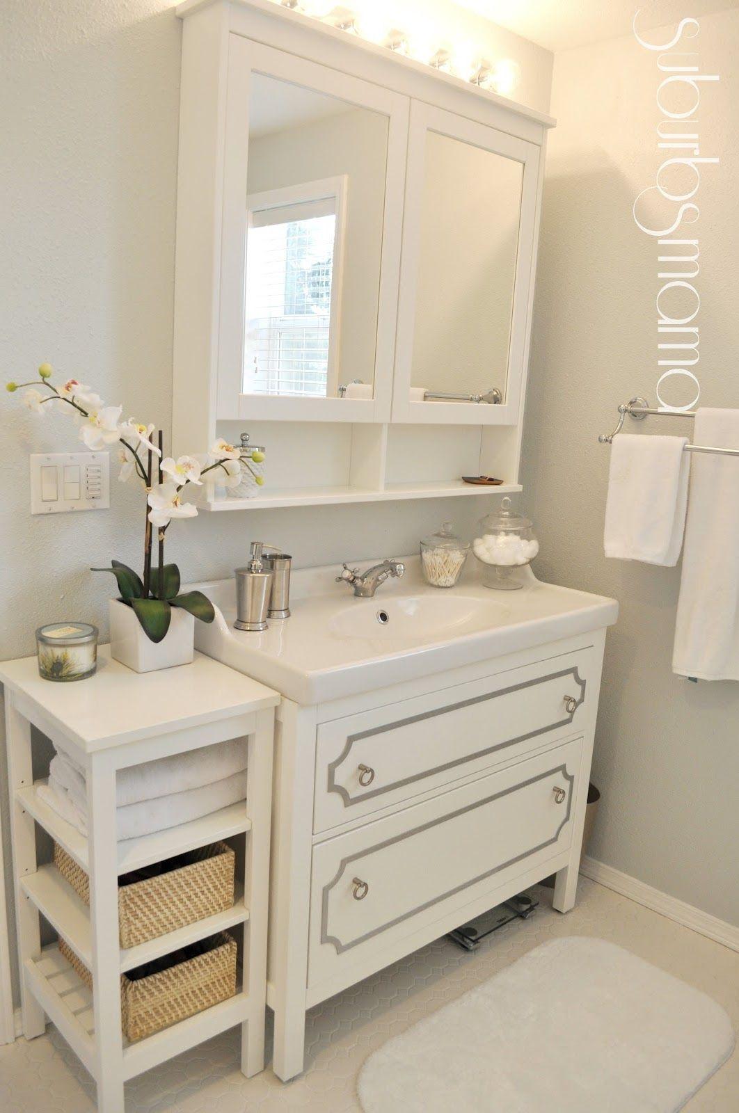 Suburbs Mama: Master Bathroom Reveal. Vanity, side table, medicine ...