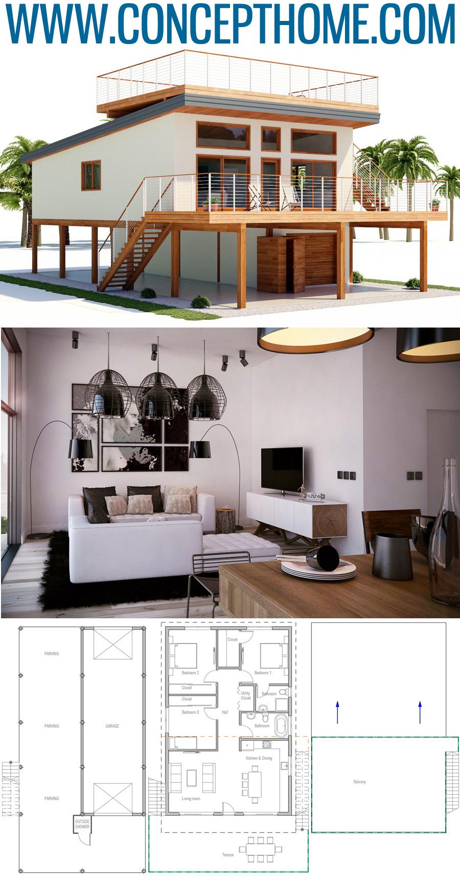 Plan De Maison Ch464 Small House Plans Coastal House Plans House Floor Plans