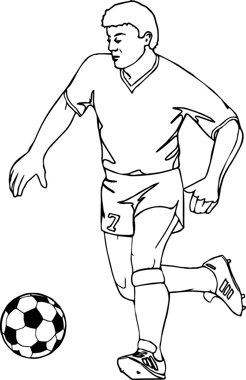 Running Football Player Playing Soccer Coloring Page