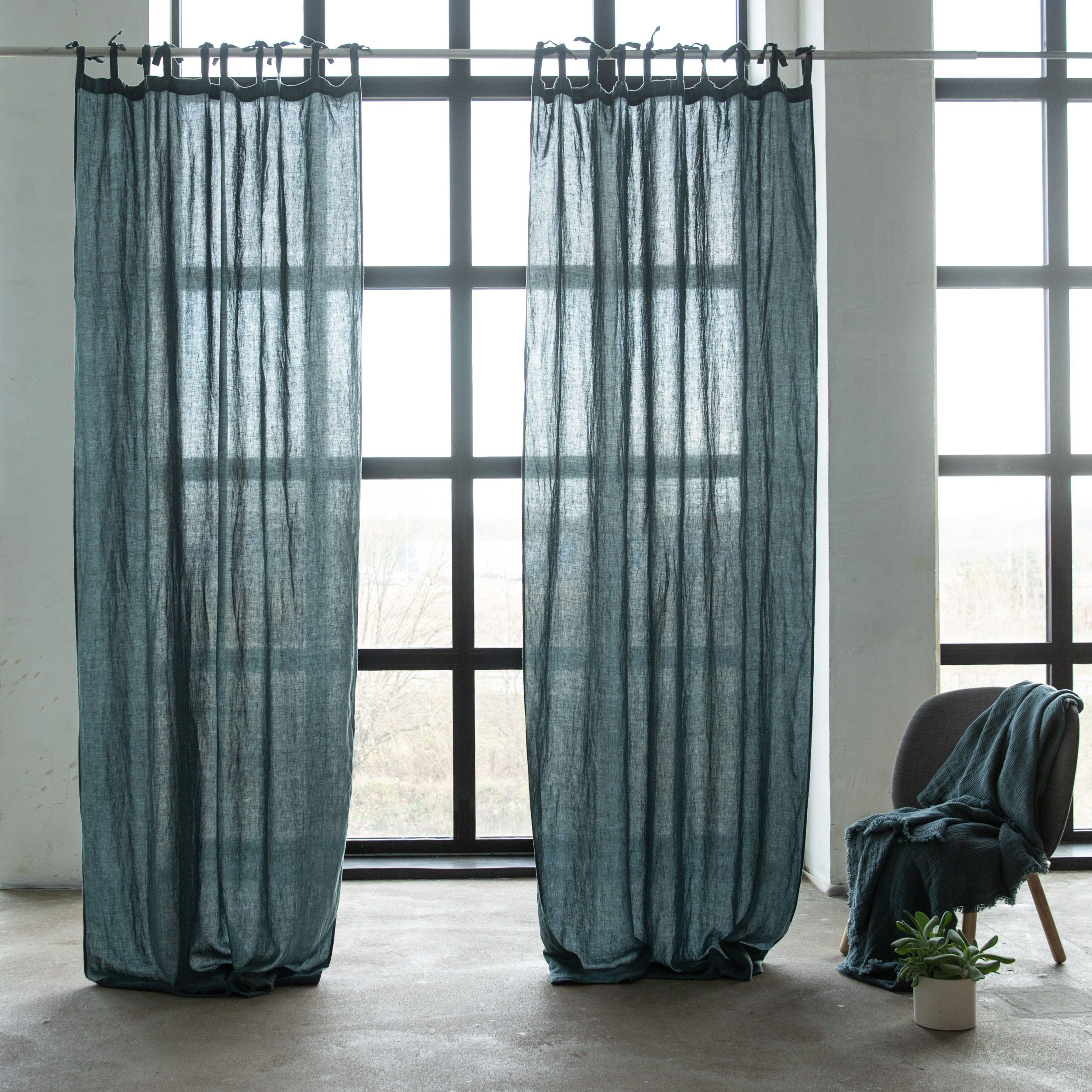 Finest Linen Curtains With Ties Balsam Green Stone Washed Linen Silver In 2020 Linen Curtains Linen Curtain Panels Linen Curtains Bedroom #silver #curtains #for #living #room