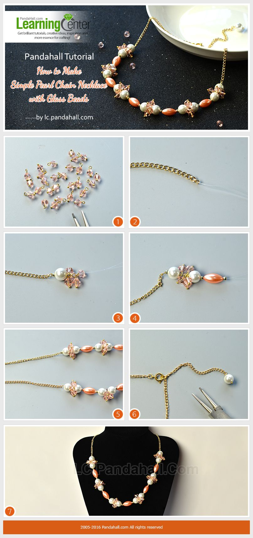 Pandahall Tutorial How to Make Simple Pearl Chain Necklace