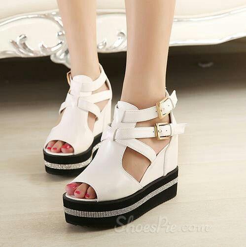 Casual Rhinestone Peep-Toe Peep-Toe Wedge Sandals