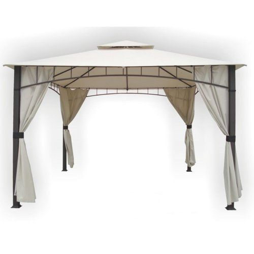 Dc America Shgo12105mbr Gm Soho 10 Foot X 12 Foot Square Column Two Tier Gazebo With Faux Privacy Scree Gazebo Replacement Canopy Square Columns Gazebo Canopy