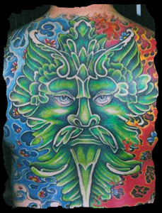 Green Man Tattoo by Jon Elliott, co-owner of Green Man Tattoo Studio in West Hartford, CT - I would urge you to check out his gallery on the site from which I pinned this image; some of the most vivid, vibrant color work I've seen.