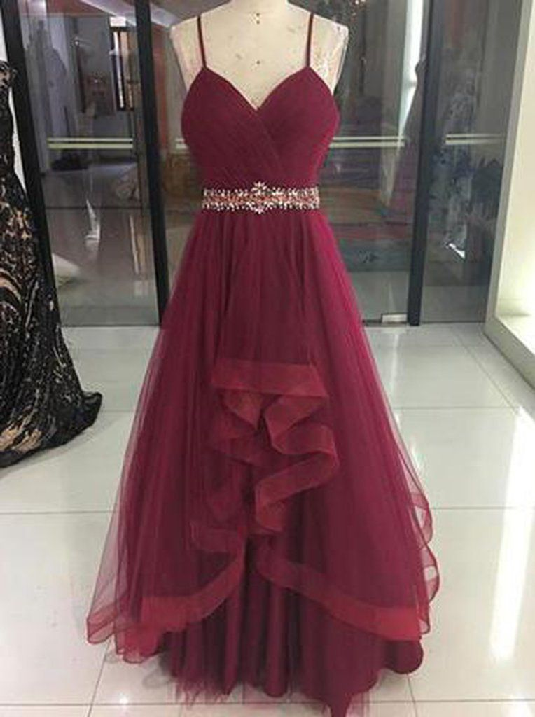 34026c029 Wine Red High Low Party Dress 2019, Cute Straps Junior Prom Dress ...