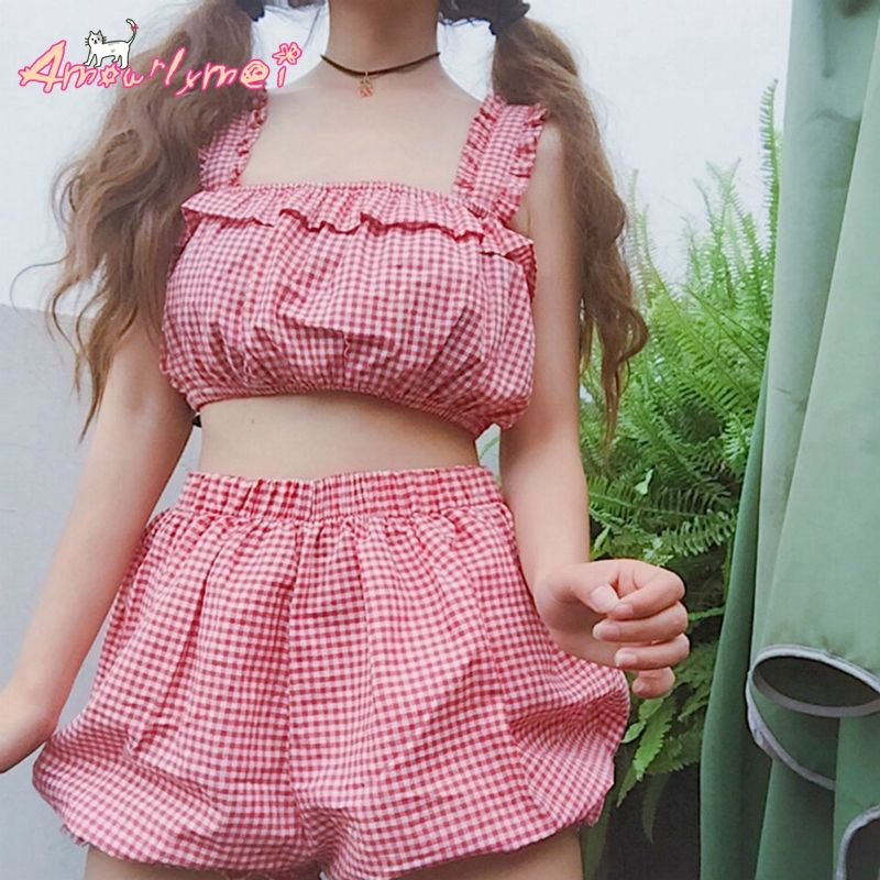 307698f7a89a  22.80 AUD red gingham pyjamas kawaii from Aliexpress.com Japanese Style  Lolita Kawaii Red Plaid Homewear and Beach Wear Summer Women Cute Pajamas  Crop Top ...