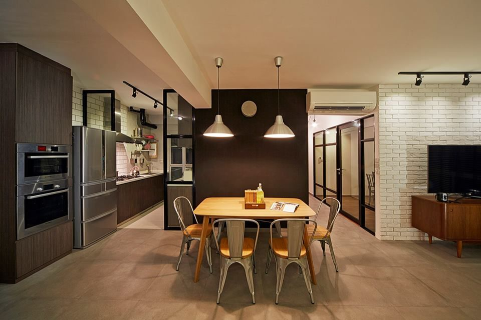 Sengkang West Way Vintage HDB Interior Design Kitchen Dining
