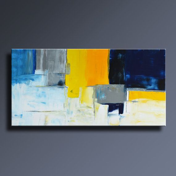 ABSTRACT PAINTING Blue Yellow Gray White Painting Original Painting