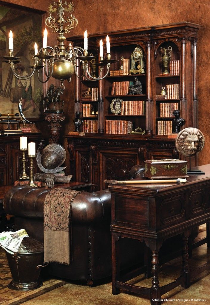 """Above are the fruits of our creative effort of the photo shoot for my  monthly column Antiques in Style with this issue entitled """"Into the Library """". - Gabinet W Stylu Angielskim - Jak Go Urządzić? Http://domomator.pl"""