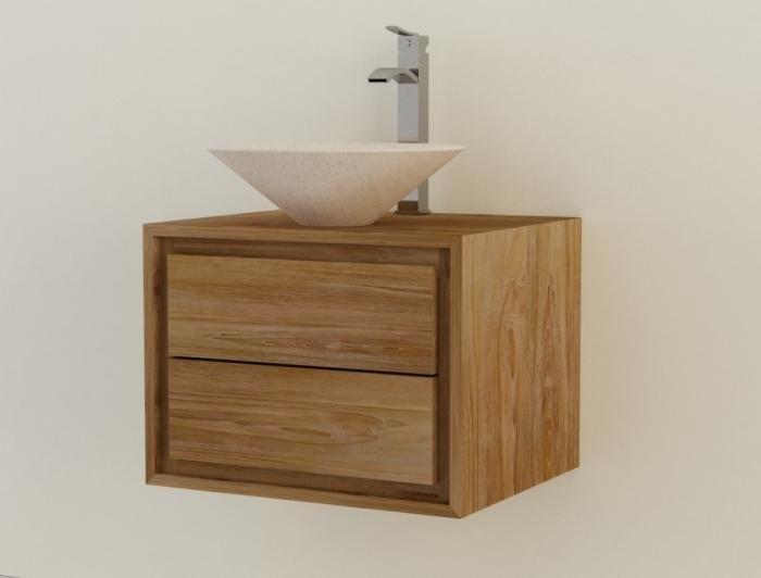 meuble de salle de bain teck suspendre valde l60 cm - Meuble Salle De Bain Teck Suspendu