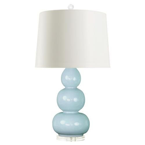 Baker Modern Blue Glazed Ceramic Triple Gourd Paper Table Lamp