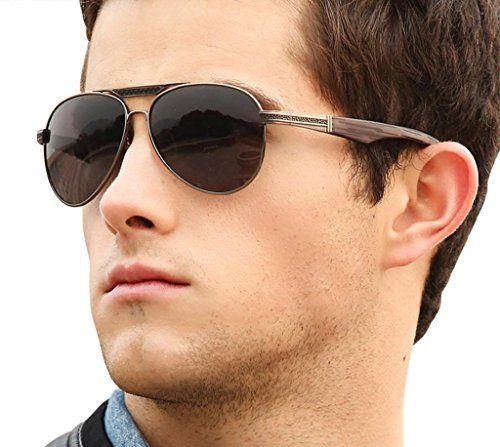 Men's Polarized Eyeswear Grey Mirror Aviator Driver Sunglasses Shades