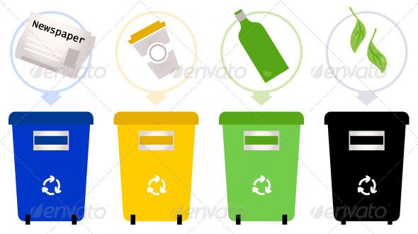 Separate Garbage Collection Isolated On White Fitness