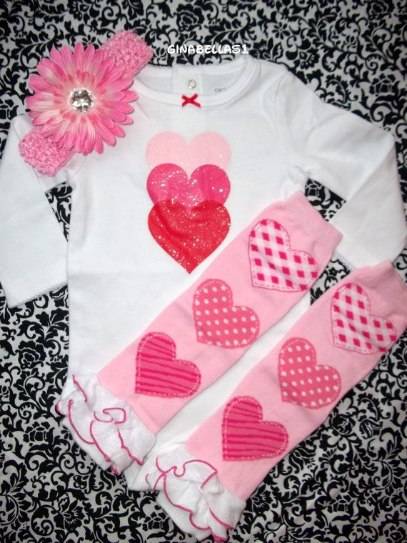 Baby Girl First Valentines Day Onesie Outfit Pink By GinaBellas1, $29.50