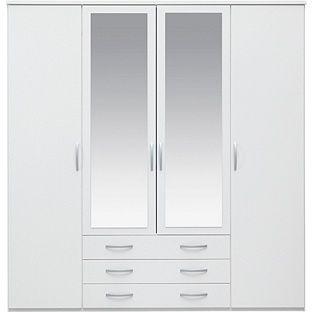 Buy New Hallingford 4 Door 3 Drawer Mirrored Wardrobe White at
