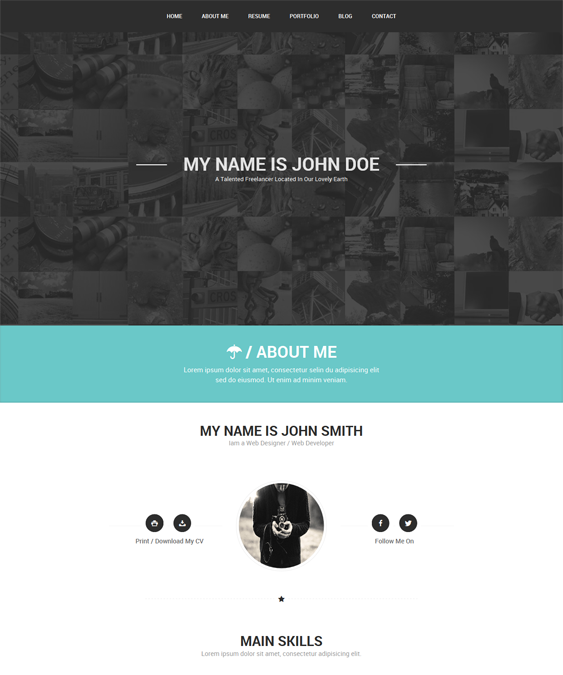 This vCard WordPress theme offers a Twitter feed, a responsive ...