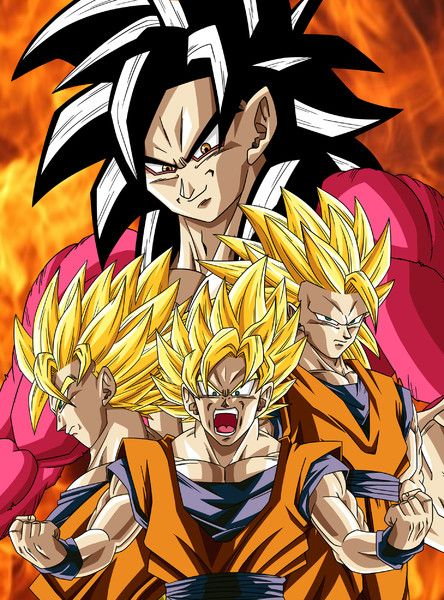 Goku Stages Of Super Saiyan 1 4 See More Cartoon Pics At Www