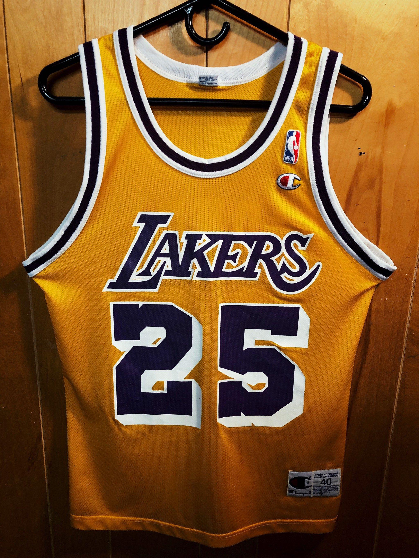Rare Los Angeles Lakers Eddie Jones Champion 25 Jersey Mens Size Medium Lakers Los Angeles Lakers Hype Clothing