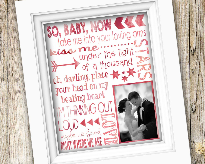 Wedding Song Lyrics Printable Anniversary Gift or